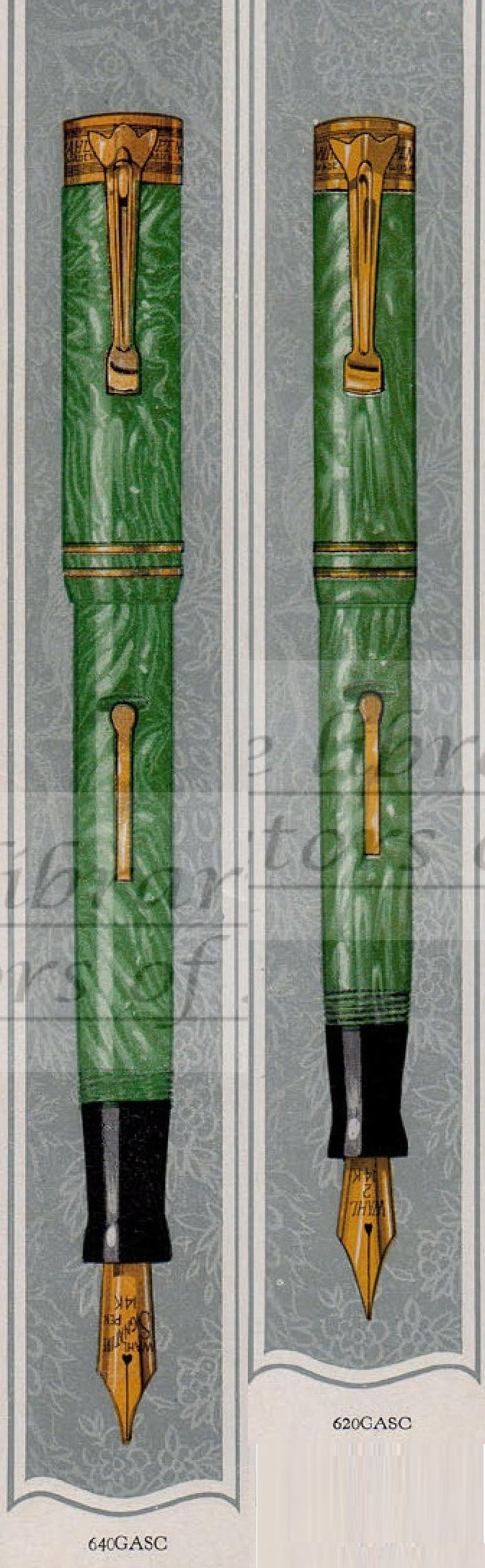 14. 1928. Wahl Eversharp 1928 catalog Green Jade SC #4 and #2 collage.jpg