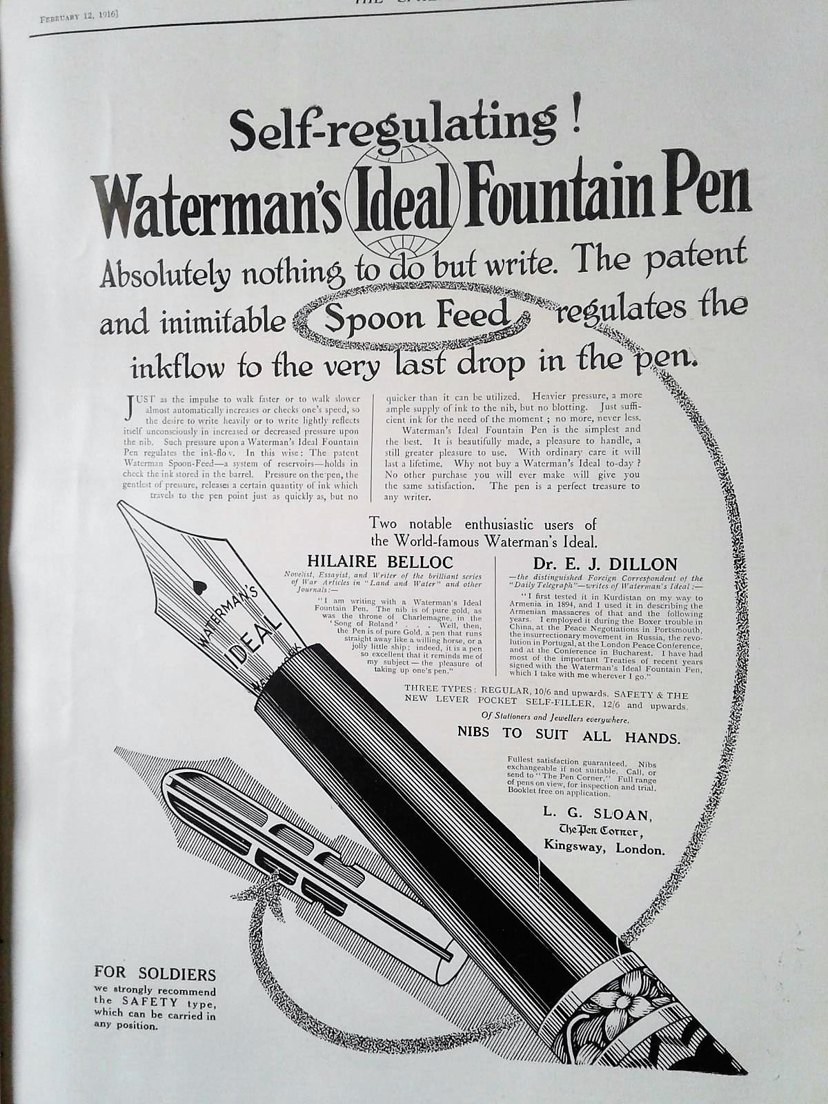 Waterman - 1916 ad - The Sphere.jpg