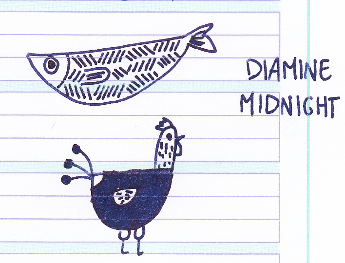 Diamine Midnight doodle Fish Chicken 01.png