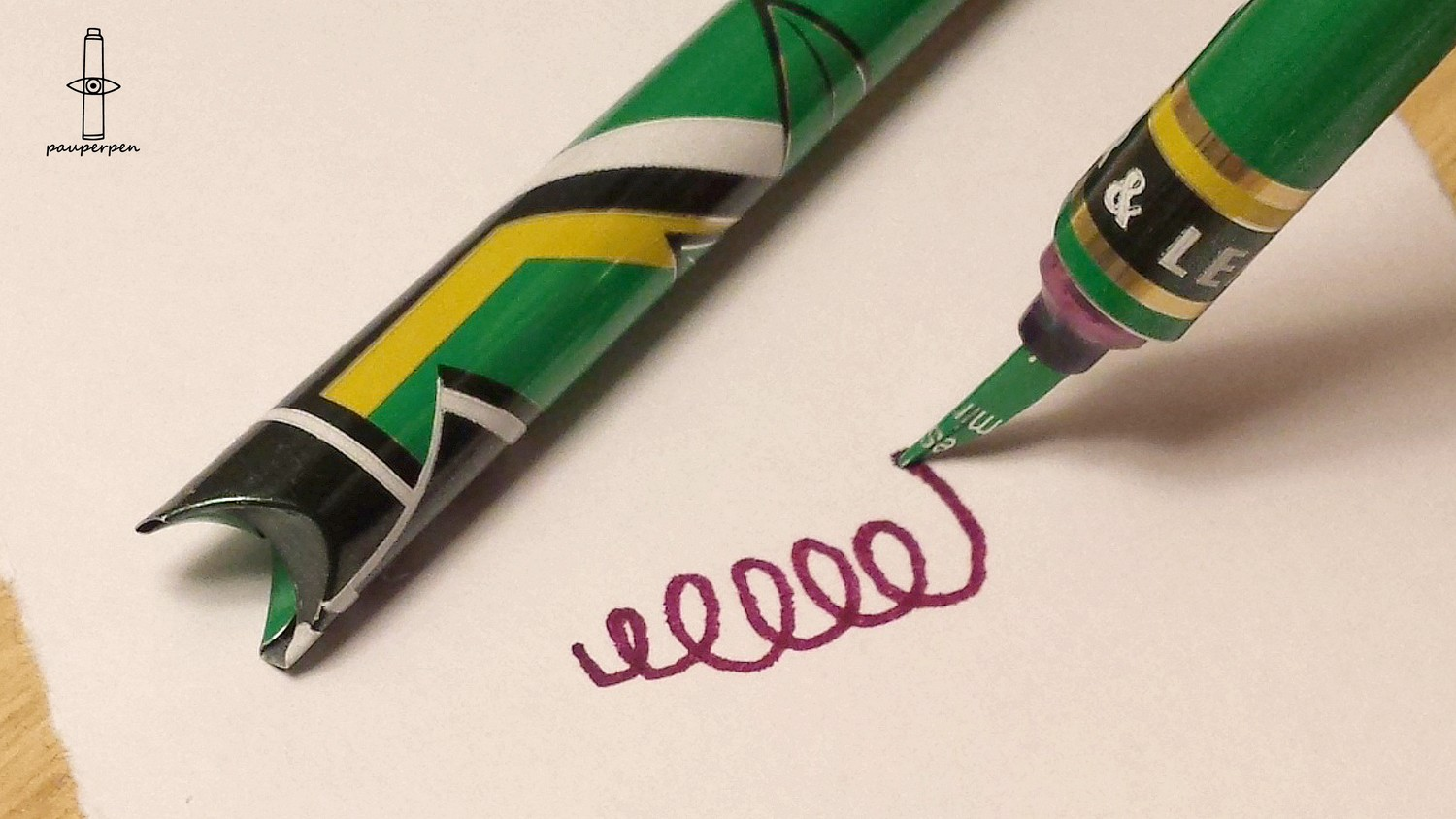 Green PauperPen with ColorSword nib - writing test 3.jpg