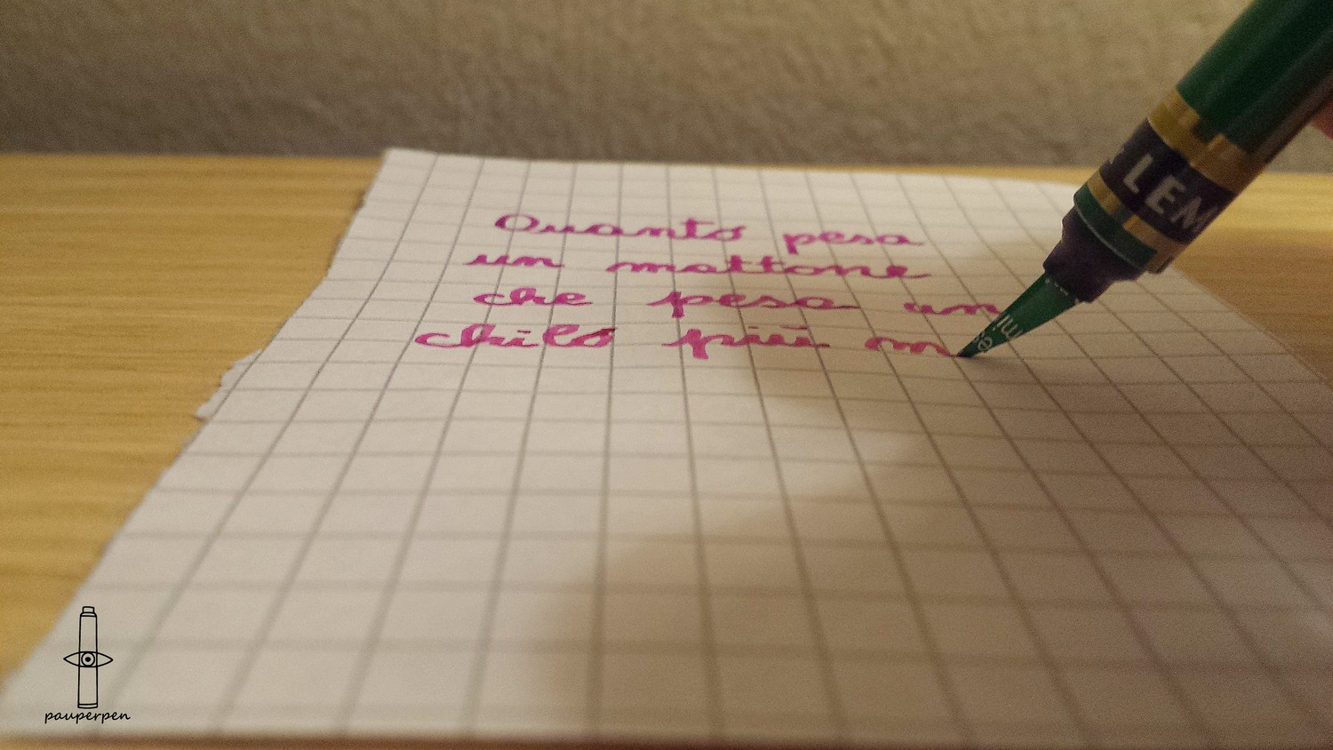 Green PauperPen with ColorSword nib - writing test 1.jpg